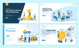 Set of web page design templates for creative process, business success and teamwork, marketing consulting. Modern vector illustration concepts for website and mobile website development.  - 223166323