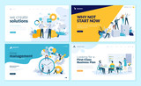 Set of web page design templates for business solutions, startup, time management, planning and strategy. Modern vector illustration concepts for website and mobile website development.  - 223166390