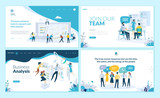 Set of web page design templates for business app, data analysis, career, communication, teamwork. Modern vector illustration concepts for website and mobile website development.  - 223166531