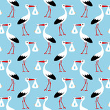 Seamless Baby Pattern Stork Boy Blue
