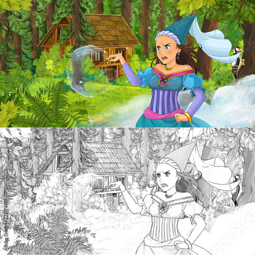 cartoon scene with woman princess in the forest near hidden wooden house - with artistic coloring page - illustration for children - 223174149