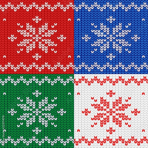 Seamless Pattern Knitted Fabric Ornament Snowflake Wool Winter