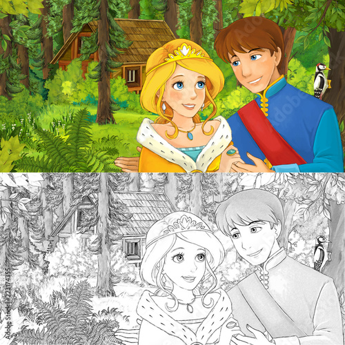 cartoon scene with princess or queen and prince or king in the forest near hidden wooden house - with artistic coloring page - illustration for children - 223174355