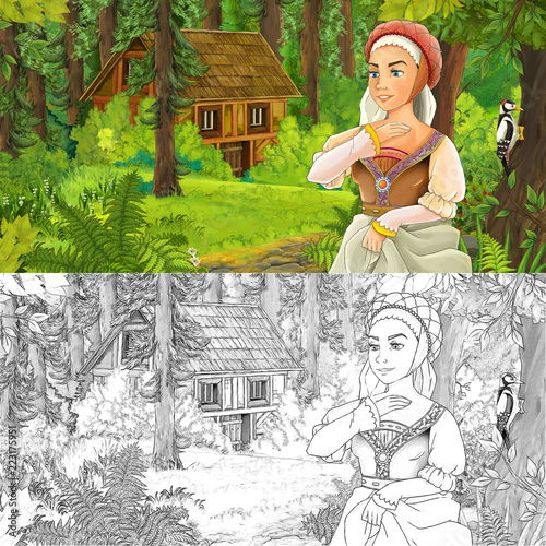 cartoon scene with woman princess in the forest near hidden wooden house - with artistic coloring page - illustration for children - 223175951