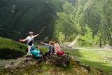 Group of hikers enjoying during summer vacation in mountains. Georgia(country)