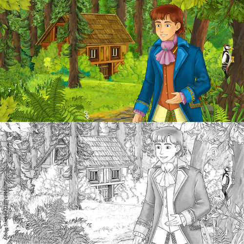cartoon scene with young boy prince in the forest near hidden wooden house - with artistic coloring page - illustration for children - 223176944