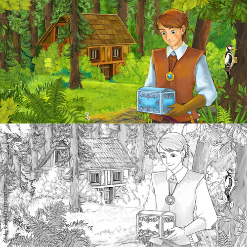 cartoon scene with young boy prince in the forest near hidden wooden house - with artistic coloring page - illustration for children - 223178507