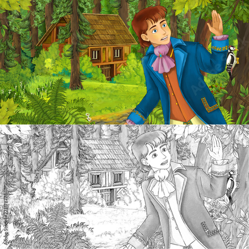 cartoon scene with young boy prince in the forest near hidden wooden house - with artistic coloring page - illustration for children - 223178778