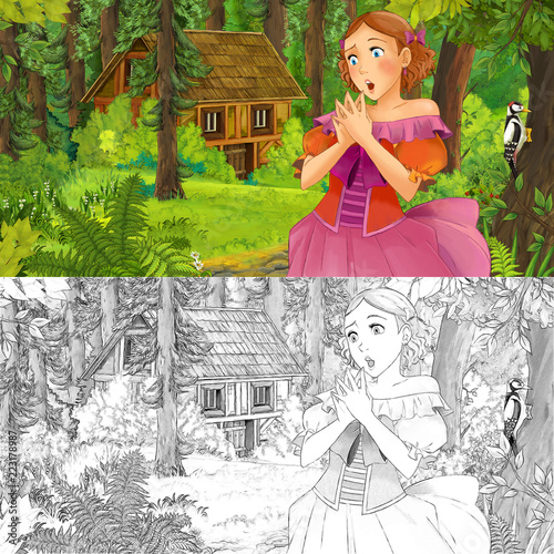 cartoon scene with woman princess in the forest near hidden wooden house - with artistic coloring page - illustration for children - 223178987
