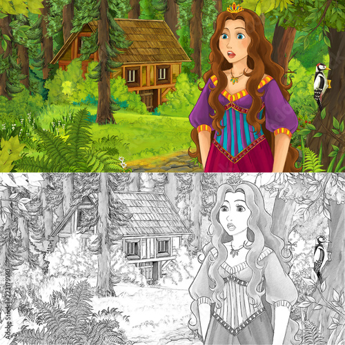 cartoon scene with woman princess in the forest near hidden wooden house - with artistic coloring page - illustration for children - 223179160