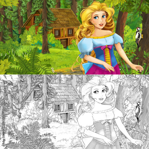 cartoon scene with woman princess in the forest near hidden wooden house - with artistic coloring page - illustration for children - 223180320