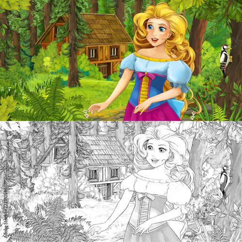 cartoon scene with woman princess in the forest near hidden wooden house - with artistic coloring page - illustration for children - 223180546