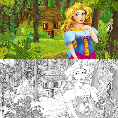 cartoon scene with woman princess in the forest near hidden wooden house - with artistic coloring page - illustration for children - 223180701