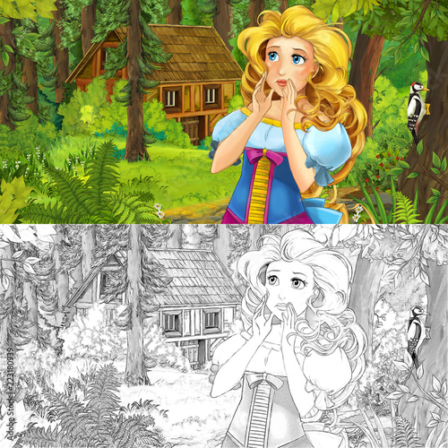 cartoon scene with woman princess in the forest near hidden wooden house - with artistic coloring page - illustration for children - 223180939