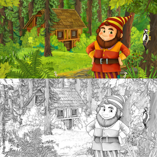 cartoon scene with man fantasy dwarf in the forest near hidden wooden house - with artistic coloring page - illustration for children - 223183160