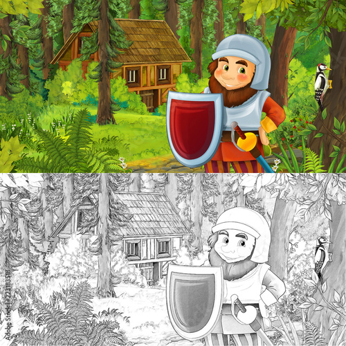 cartoon scene with man fantasy dwarf in the forest near hidden wooden house - with artistic coloring page - illustration for children - 223183518
