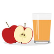 Healthy Lifestyle. Freshly squeezed juice in a glass. Apples. - 223186193
