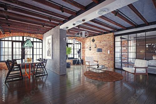 modern loft interior. - 223186375