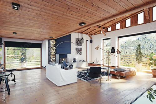 modern chalet interior. - 223186777
