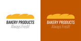 Logo with Loaf bread for Bakery Products Shop - Vector Emblem on white and dark background