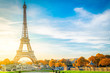 view of Eiffel Tower with blue sky at fall, Paris, France