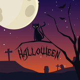 halloween card with night cemetery scene - 223197520