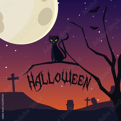 Fototapeta halloween card with night cemetery scene