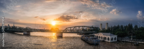Fridge magnet Panorama view, The beauty of the river and the bridge in the evening. Bangkok, Thailand.