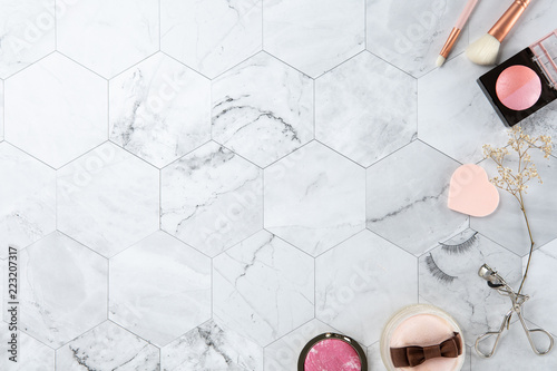 make up cosmetic flat lay top view on the tile marble white color look clean with copy space for text - 223207317