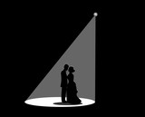 Black silhouette of a married couple The white spotlight is splashed down.