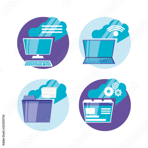 cloud computing set icons