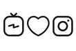 TV icon. Heart icon. Camera icon