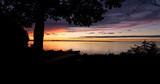 Sunset silhouette with tree and picnic table