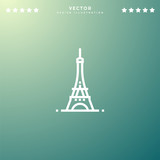Premium Symbol of Eiffel Tower Related Vector Line Icon Isolated on Gradient Background. Modern simple flat symbol for web site design, logo, app, UI. Editable Stroke. Pixel Perfect.