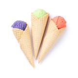 Ice cream scoops in cones
