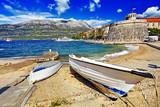 Historic architecture old town in Croatia, popular touristic destination in Mediterranean, Croatia Europe - 223220396