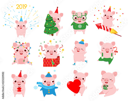 Cartoon Pig Symbol Of Chinese 2019 New Year In Different Poses Big