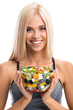 Woman in sportswear with salad, isolated