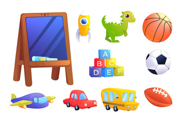 Kids Toys set. A car, bus, airplane, dinosaur, cubes with alphabet letters, sports ball for children game.
