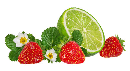 Fresh strawberries and lime with leaves and flowers isolated on white background with clipping path