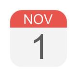 November 1 - Calendar Icon - 223232391