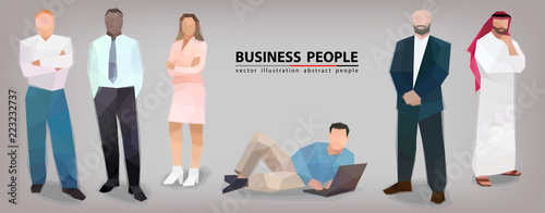 Business people panorama success business faces stylization vector - 223232737