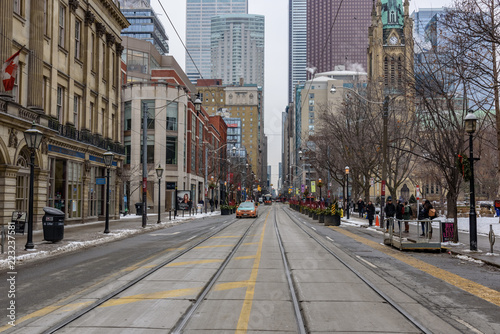 View of a street of Downtown Toronto