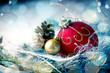 Leinwanddruck Bild - Christmas baubles in snow landscape