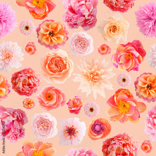 Seamless pattern with handmade crepe paper flowers on apricot seamless pattern with handmade crepe paper flowers on apricot colored background mightylinksfo