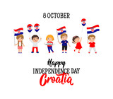 Croatian Independence Day greeting card. October 8 Happy Independence Day Croatia - 223247984