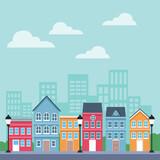 Town scenery cartoons