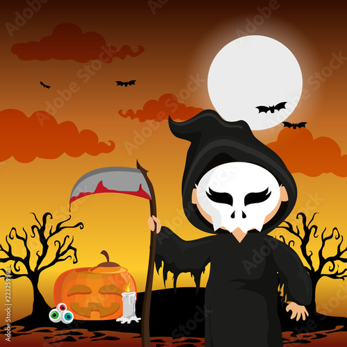 Kid and halloween - 223259563
