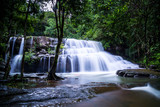 Pang Sida waterfall during rainy season. The beautiful waterfall in deep forest at Pang Si Da National Park, Srakaew Thailand