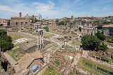 Elevated view towards the arch of Septimius Severus and the church of Santa Luce e Martina in the forum, Rome - 223274306